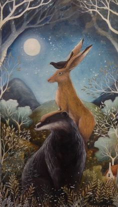 The Badger, the Hare and the Blackbird (mounted)