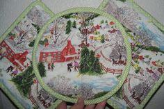 Grandma Moses Barkcloth Deep Snow Kitchen Set by raisedoncotton2, $27.99