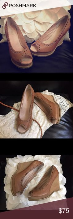 """Seychelles Tan Leather Wedge Beautiful tan peep toe leather wedge by Seychelles. Comfy, 4"""" Wedge. Cute paired with your shorts, jeans or your favorite summer dress. Neutral color pairs well with everything! Brand new without box. No trades, thank you. Seychelles Shoes Wedges"""