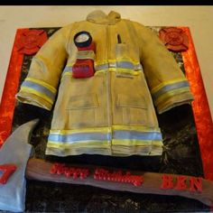 Firefighter Coat & Axe Birthday Cake | Shared by LION