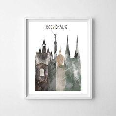 Bordeaux Bordeaux printable Bordeaux skyline Bordeaux art