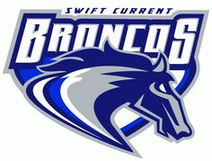 Swift Current Broncos Primary Logo (2004) - A stylized bronco head with the script Broncos above it