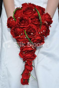 Striking and Bold Silk Red Rose Cascade Bridal Bouquet with Beargrass