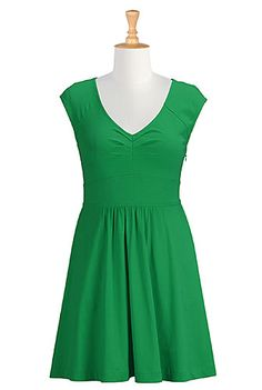 I <3 this Banded empire waist cotton knit dress from eShakti- nut knee length