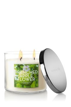 $19.50 Drenched Apple Flower 3-Wick Candle - Decorate any room in your home with crisp Fuji apples blended deliciously with rain-soaked greens and pink lotus blossom. <3  #LUVBBW