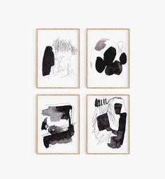 Set of 4 Abstract Art, Abstract Printable, Set of 4 Prints, Set of 4 Black White Prints, Set of 4 Bl Coastal Wall Decor, White Wall Decor, Coastal Art, Black And White Prints, Animals Black And White, Black And White Wall Art, Abstract Images, Abstract Wall Art, Fashion Wall Art