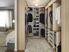 Dressing en U en arrière chambre - Home & DIY Walk In Closet Design, Bedroom Closet Design, Master Bedroom Closet, Closet Designs, Home Bedroom, Bedroom Decor, Bedrooms, Master Bedroom Addition, Wardrobe Design