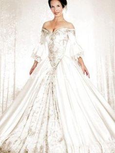 White Off-the-Shoulder Gothic Victorian Wedding Dress