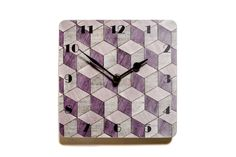 Wall Clock Purple Clock Geometric Wall Clock Kitchen Clock Melamine Clock Birthday Gift for her Art Deco Clock Geometric Purple Art Deco by EInderDesigns on Etsy https://www.etsy.com/ca/listing/503218239/wall-clock-purple-clock-geometric-wall