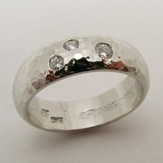 Unique OOAK Hand Made and Hammered 10% Iridium Platinum and Diamond Man's Wedding Band