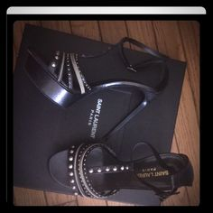 Gorgeous Saint Laurant Show stoppers .. Perfect for any Occasion comes with the original box and dust bag purchase from Neiman Marcus . Flash sale Saint Laurent Shoes Sandals