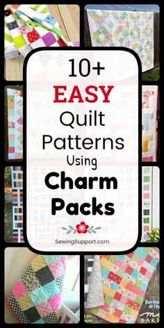 Free Quilt Patterns using Charm Pack fabric bundles inch squares). Eleven easy quilt projects and tutorials, including patchwork and square designs, simple and easy enough for a beginner to sew. Charm Pack Quilt Patterns, Charm Pack Quilts, Charm Quilt, Easy Quilt Patterns, Patchwork Patterns, Sewing Patterns Free, Blanket Patterns, Free Sewing, Quilting Tips