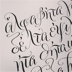 More Greek the alphabet all spelled out. #greek #calligraphy #moderncalligraphy by plurabellestudio