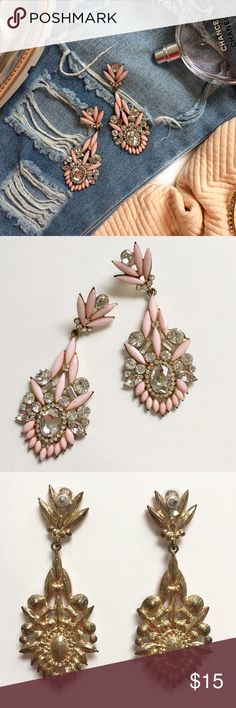 Pink Jeweled Statement Earrings Never worn. Length of earrings is 3.5 inches. NOT KENDRA SCOTT, brand just for exposure. Kendra Scott Jewelry Earrings