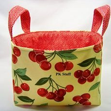PK Fabric Basket in My Cherry in Citron  Ready To Ship by PKStuff, $14.50