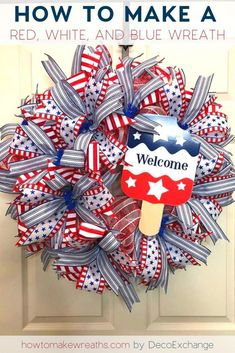 Looking for a patriotic wreath to display this Fourth of July or Memorial Day? Look no further than this red, white, and blue wreath! Patriotic Wreath, Patriotic Decorations, 4th Of July Wreath, Patriotic Crafts, Christmas Decorations, Mesh Wreath Tutorial, Diy Wreath, Wreath Making, Wreath Crafts