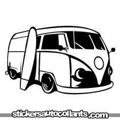 Image detail for -stickers: Drawings / Cars / Vw-van-surf-02