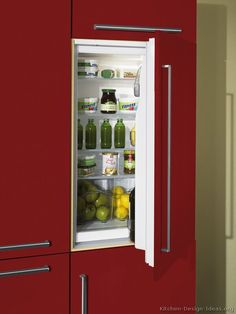 #Kitchen Idea of the Day: Modern Red Kitchen with built-in refrigerator.
