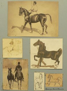 George Ford Morris Horses Original GFM Horse Sketches & Artwork  These are pictured in the GFM book Portraitures of Horses 10 by 14 inches combined