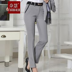 Quality OL Style Brand New Formal Pants Women Work Wear Office Career Slim Gray Long Straight Pant Ladies Trousers Plus Size Formal Pants Women, Suits For Women, Clothes For Women, Work Fashion, Fashion Pants, Work Wear Office, Office Outfits Women, Velvet Fashion, Pants Pattern