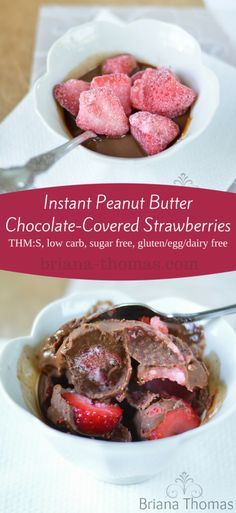 Instant Peanut Butter Chocolate-Covered Strawberries...this is my favorite 5 ingredient go-to snack or dessert. Low carb, THM:S, sugar free, gluten/egg/dairy free