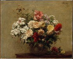 Summer Flowers Henri Fantin-Latour  (French, Grenoble 1836–1904 Buré) Date: 1880 Medium: Oil on canvas Dimensions: 20 x 24 3/8 in. (50.8 x 61.9 cm) Classification: Paintings