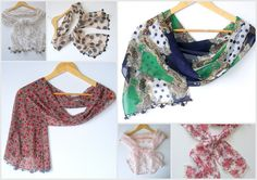 chiffon scarf, women scarves, brown, floral, for woman ,fashion accessory ,handmade gift scarf, 2013 trends, for her. $15.00, via Etsy.