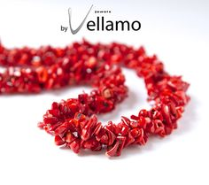 Red coral necklace with three strands of coral chips by byVellamo, $19.00