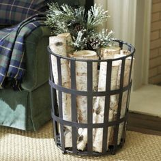 Metal Strap Basket (Ballard Designs) - want to use it for my yoga mats & blocks Metal Baskets, Storage Baskets, Log End Tables, Hot Tub Room, Log Decor, Christmas Baskets, Basket Decoration, Wood Pallets, Pallet Wood