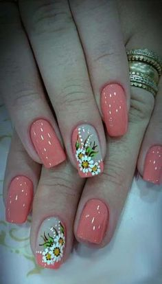60 Stylish Nail Designs for Nail art is another huge fashion trend besides the stylish hairstyle clothes and elegant makeup for women. Nowadays there are many ways to have beautiful nails with bright colors different patterns and styles. Fingernail Designs, Nail Art Designs, Nails Design, Clear Nails With Design, Coral Nail Designs, Stylish Nails, Trendy Nails, Spring Nails, Summer Nails