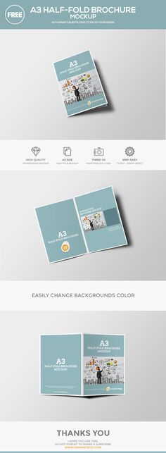 Vertical A4 or A5 Trifold Mockups Mockup, Brochures and Font logo - half fold brochure template