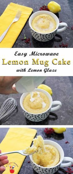 Easy microwave lemon mug cake with lemon glaze In the mood for dessert? Just whip up this sweet lemon mug cake. The recipe takes only 2 minutes start to finish & voila - instant dessert! Lemon Recipes, Sweet Recipes, Cake Recipes, Dessert Recipes, Microwave Mug Recipes, Mug Cake Microwave, Microwave Sponge, Microwave Desserts, Mug Cakes