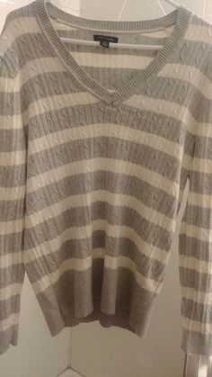 5ecd3a97b580bf Tommy hilfiger women grey & White sweater size xl #fashion #clothing #shoes  #accessories #womensclothing #sweaters (ebay link)