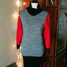 Vintage Cherry Sweater Dress Cozy turtle neck sweater dress by the brand Cherry. Stunning color block style of red, grey, and black. A rare find. In excellent condition.  Measurements are as follows: 37' length / 18' bust / 22' sleeve Vintage Dresses