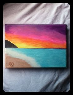 Beach Sunset Canvas Painting by MorgsCreations on Etsy, $17.50