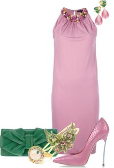 """""""Pink Contest 1"""" by jbet123 ❤ liked on Polyvore. The dress is cute...but idk about that green as an accent color..."""
