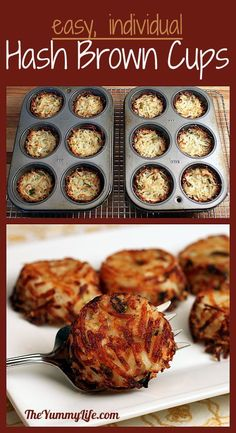 Individual Parmesan Hash Brown Cups #pinterest #food #recipes