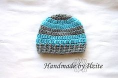 Crochet boys beanie in grey and aqua color. by handmadebyilzite, $13.00