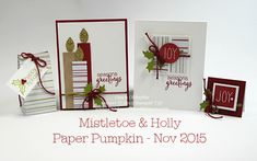 November 2015 Mistletoe & Holly Paper Pumpkin alternate ideas by Dawn Olchefske  #dostamping #stampinup - Close up photos and a free PDF with details and directions in the post.