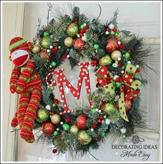 Christmas wreath ideas from Jennifer Decorates.com Sock Monkey Wreath.  Includes what you will need to make wreath and how to assemble wreath with pics