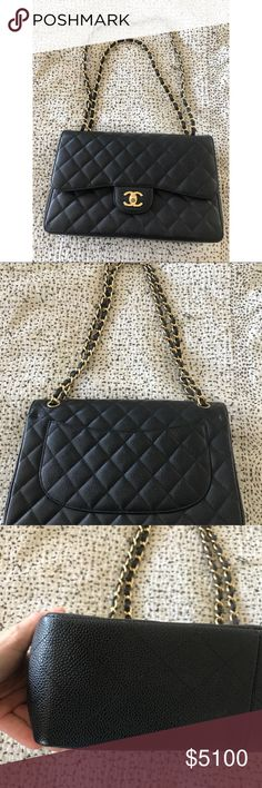 Chanel Black Caviar Jumbo Double Flap Bag I've kept this bag in box since I've purchased. In perfect condition. No signs of any wear. Exterior: Black Quilted Caviar Leather, Back Slip Pocket Interior: Burgundy Lambskin Lining, Two Slip Pockets CHANEL Bags Shoulder Bags