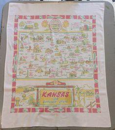 Vintage Souvenir Tablecloth 1940s Kansas The by unclebunkstrunk