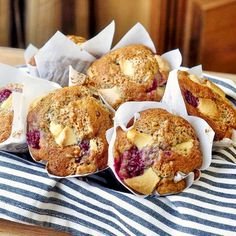 Raspberry White Chocolate Banana Muffins - Rock Recipes has many ideas to use up those ripe, speckled bananas on your counter but this one is a personal favorite, especially at weekend brunches.