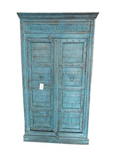 Antique Indian Cabinet Blue Patina Armoire Hand Carved Rustic Furniture Mogul Interior http://www.amazon.com/dp/B015ODWOXI/ref=cm_sw_r_pi_dp_D9ytwb1JH0YRB