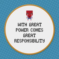 SpiderMan Quote  Cross Stitch PDF Pattern by pixelpowerdesign, $3.00