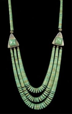 "~ Pueblo Necklace - silver & graduated green turquoise, Circa: 1980s, 22"" long"