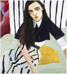 Girl with stripes.  Jenni Hiltunen nostaa maalaustaiteensa uudelle tasolle Galerie Forsblomin näyttelyssä - Näyttelyarvostelut - Helsingin Sanomat