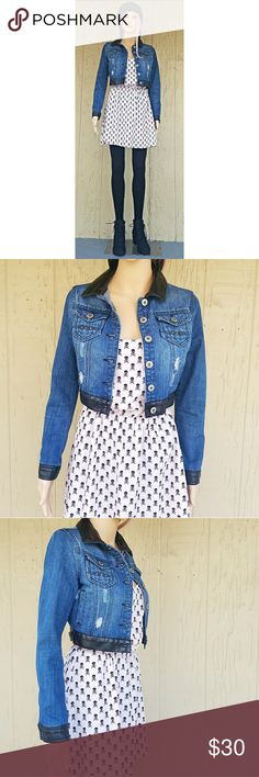 Highway Jeans Distressed Denim Crop Jacket Highway Jeans button up longsleeve distressed denim crop jacket with faux leather hem, collar, and single button cuffs. Also features two single button breast pockets each with 3 stud spike accents and 2 front pockets.  Fits like XS/S. You'll need a smaller chest if buttoning up is of preference.  73% Cotton 27% Polyester  Color(s): Blue, Black Highway Jeans Jackets & Coats Jean Jackets