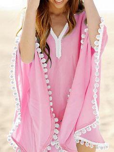 Light Pink Oversize Pom Pom Chiffon Poncho Cover Up Dress Indian Fashion Dresses, Fashion Outfits, Crochet Beach Dress, Beach Attire, Pretty Outfits, Pretty Clothes, Summer Outfits, Outfits 2016, Beach Outfits