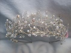 swarovski crystal freshwater pearl silver tiara. $140.00, via Etsy.